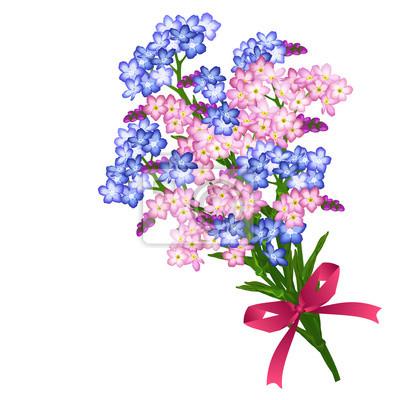Posters Bouquet De Fleurs Printanières Bleues Et Roses Avec Un Nœud Rouge