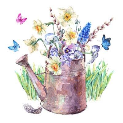 Posters Bouquet de printemps avec des jonquilles, des pensées, des muscari et des papillons