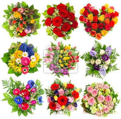 Posters Bouquets De Fleurs Colorées Pour Anniversaire Mariage Pâques