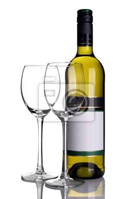 Bouteille de vin blanc avec des verres à vin