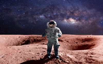 Posters Brave astronaute à l'espace sur le mars. Cette image des éléments fournis par la NASA.