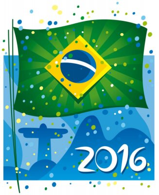 Posters Brazil flag celebrating the new year in wonderful city