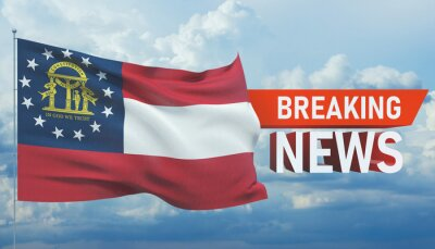 Posters Breaking news. World news with background waving flag of the states of USA. State of Georgia flag. Pandemic 3D illustration.