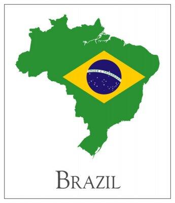 Posters Brésil Carte de drapeau