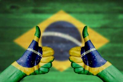 Posters Brésil flag peint sur les mains des femmes thumbs