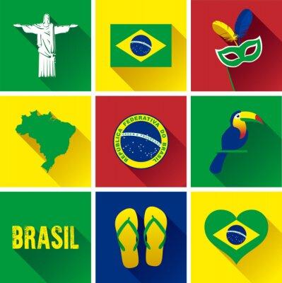 Posters Brésil Flat Icon Set. Ensemble, vecteur, graphique, plat, icônes, représenter, repères, symboles, brésil
