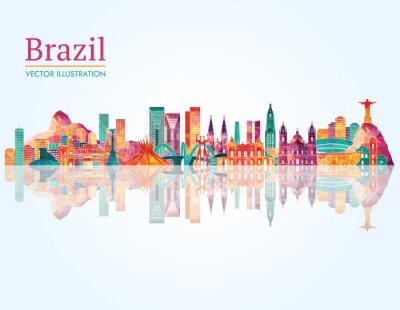 Posters Brésil Horizon historique. Illustration vectorielle