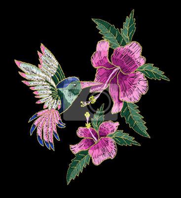 Colibri Hibiscus broderie colibris et fleurs dhibiscus. illustration vectorielle