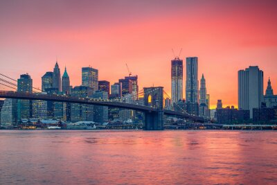 Posters Brooklyn bridge and Manhattan at dusk