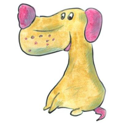Posters Brun, chien, rose, oreilles, dessin animé, aquarelle, isolé