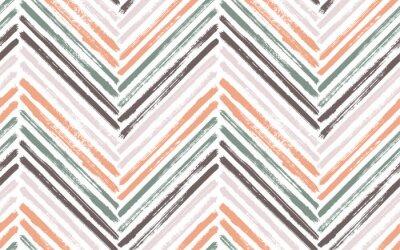 Posters Brush stroke chevron zig zag seamless pattern.