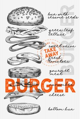 Posters Burger illustration for food restaurant and truck on vintage background.