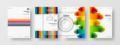 Posters Business presentation vector A4 vertical orientation front page mock up set. Corporate report cover abstract geometric illustration design layout bundle. Company identity brochure template collection.