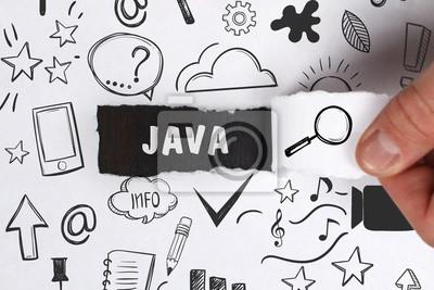 Posters Business, technologie, Internet et concept de réseau. Le jeune homme d'affaires montre le mot: Java