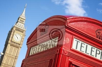 Cabine téléphonique rouge et Big Ben, Londres.
