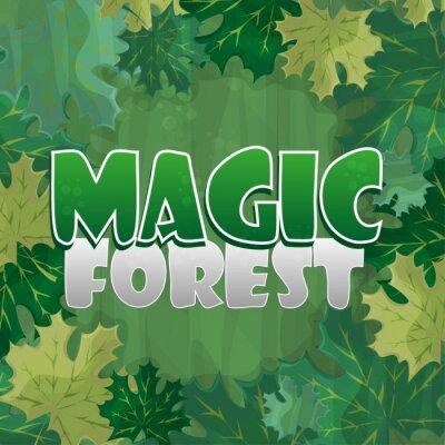 Posters Cadre pour la décoration de texte. Forêt enchantée avec feuille d'érable verte - dessin animé