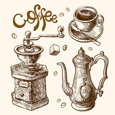 Posters Café, croquis, Illustration