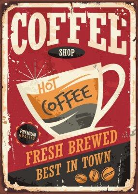 Posters Café, magasin, retro, tin, signe, conception, café, tasse, rouges, fond
