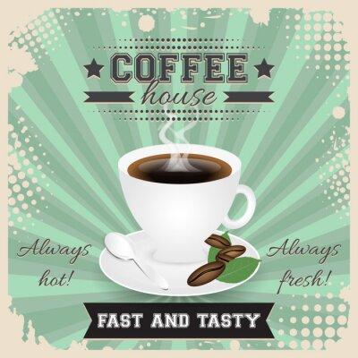Posters Café, maison, grunge, affiche, conception, demi-teinte, effet Tasse à café, cuillère, grains de café, plaque, feuilles et vapeur.