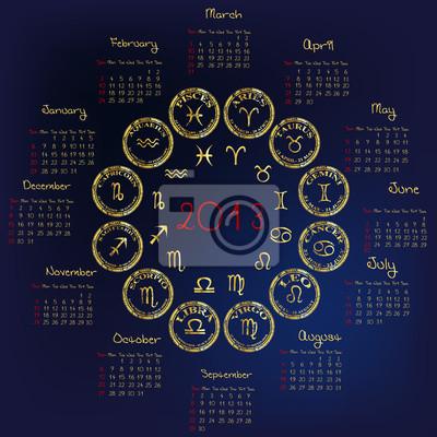 Calendrier 2013 avec des signes d'astrologie