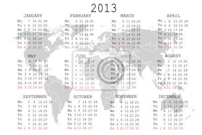 Calendrier 2013 avec la carte du monde