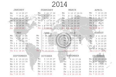 Calendrier 2014 avec la carte du monde