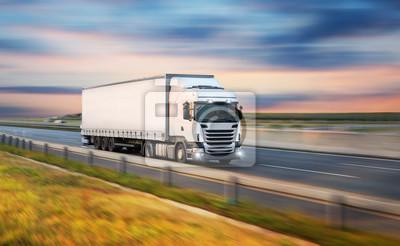 Posters Camion avec conteneur sur route, concept de transport de fret.