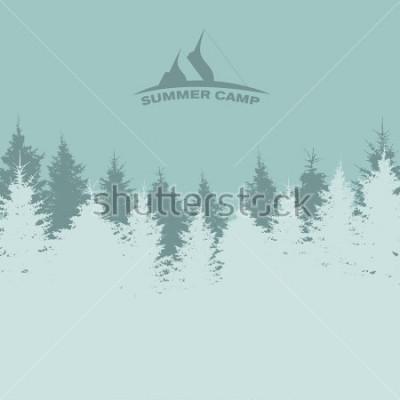 Posters Camp d'été. Image de la nature. Silhouette d'arbre. Illustration