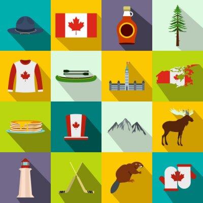 Posters Canada, icônes, plat