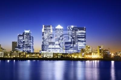 Canary Wharf voir de l'O2 Arena.