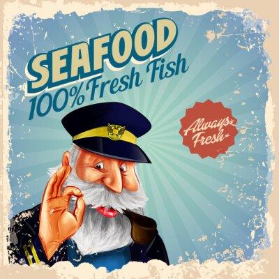 Posters Capitaine de poisson frais de fruits de mer