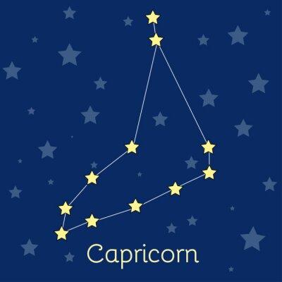 Posters Capricorne Terre Zodiac constellation avec des étoiles dans le cosmos. Image vectorielle