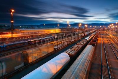 Posters Cargo transportatio avec les trains et les chemins de fer