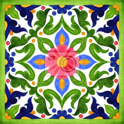Posters Carreaux d'azulejo portugais. Aquarelle transparente motifs, estampes