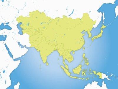 Posters Carte asie, et frontières fleuve