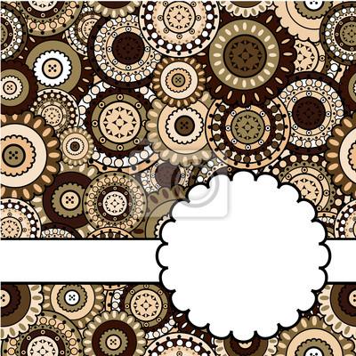 Carte avec ornements orientaux brun