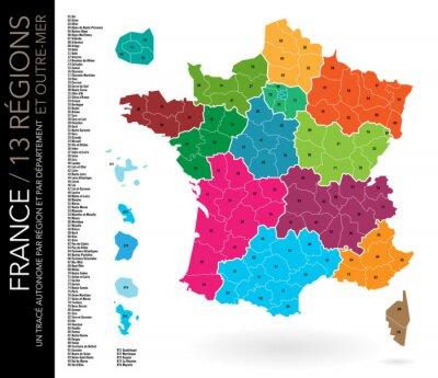 Carte De France 13 Regions Departements With Numeros Et Liste Affiches Murales Posters Departemental Route Secondaire Martinique Myloview Fr