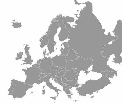Posters Carte de haute qualité Europe avec les frontières des régions