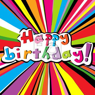 Carte de joyeux anniversaire avec sunburst couleur