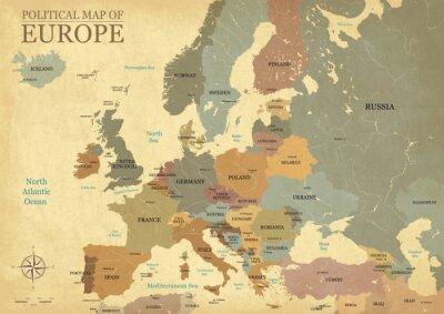Posters Carte de l'Europe avec des chapiteaux - Texture vintage - Langue Anglais / US - Vector CMJN