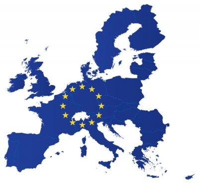 Posters Carte de l'Europe avec le drapeau de l'Union