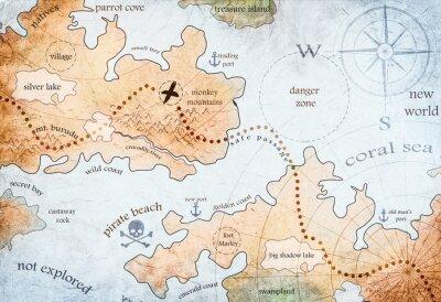 Posters carte de l'île au trésor pirate