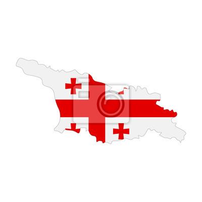Posters carte de la Géorgie - drapeau