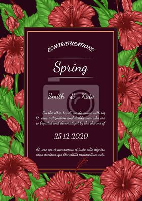 Carte De Vecteur Fleur Hibiscus A La Main De Dessin Belle Fleur