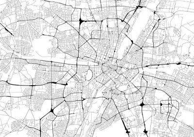 Posters Carte de ville monochrome avec le réseau routier de Munich