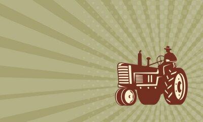 Posters Carte de visite Agriculteur conduisant Vintage Tractor Retro