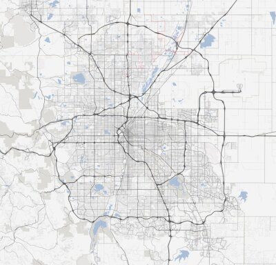 Posters Carte Denver ville. Colorado Roads