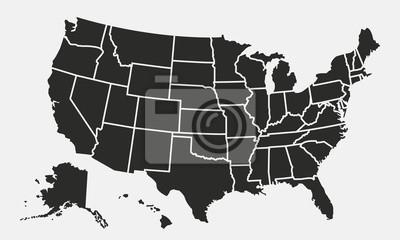 Posters Carte des USA avec des états isolés sur fond blanc. Carte des États-Unis d'Amérique. Illustration vectorielle