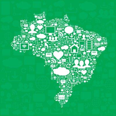 Posters Carte du Brésil avec des icônes.