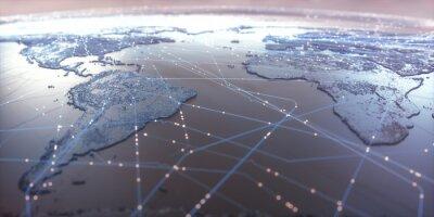 Posters Carte du monde avec des connexions de données par satellite. Connectivité à travers le monde.